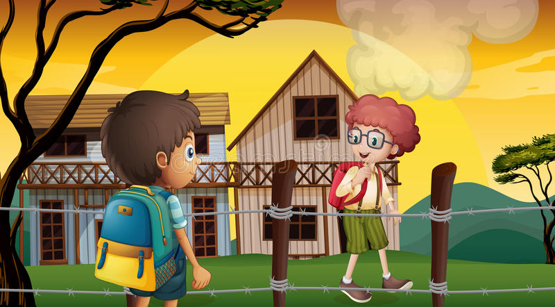 Two students talking near the barbwire fence. Illustration of the two students talking near the barbwire fence vector illustration