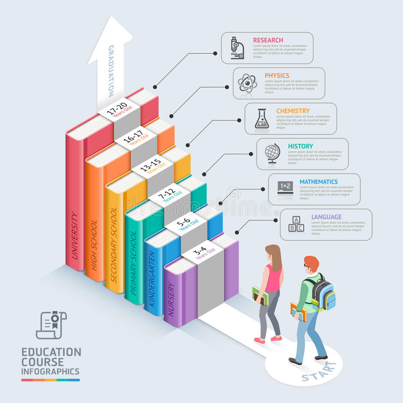 Two students walking up to the stairs to success. vector illustration