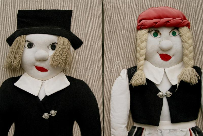 Two stuffed dolls stock photo