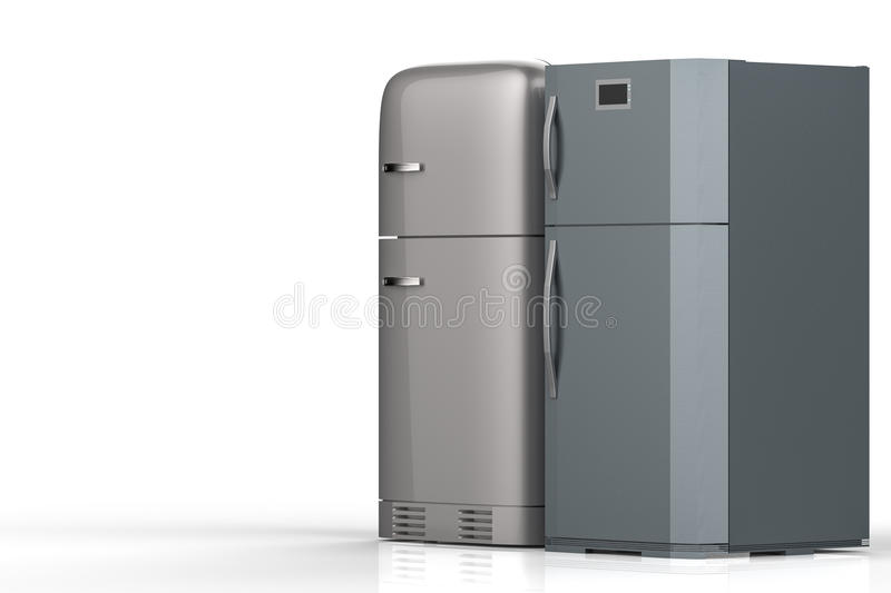 Two style refrigerators stock photo