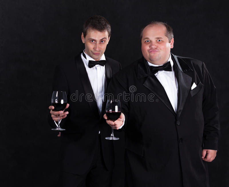 Download Two Stylish Businessman In Tuxedos With Glasses Of Red Wine Stock Illustration - Illustration of design, clothes: 31111497