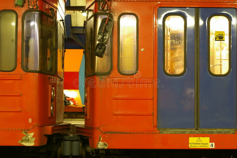 Download Two subway cars stock photo. Image of rail, cars, connected - 3793422