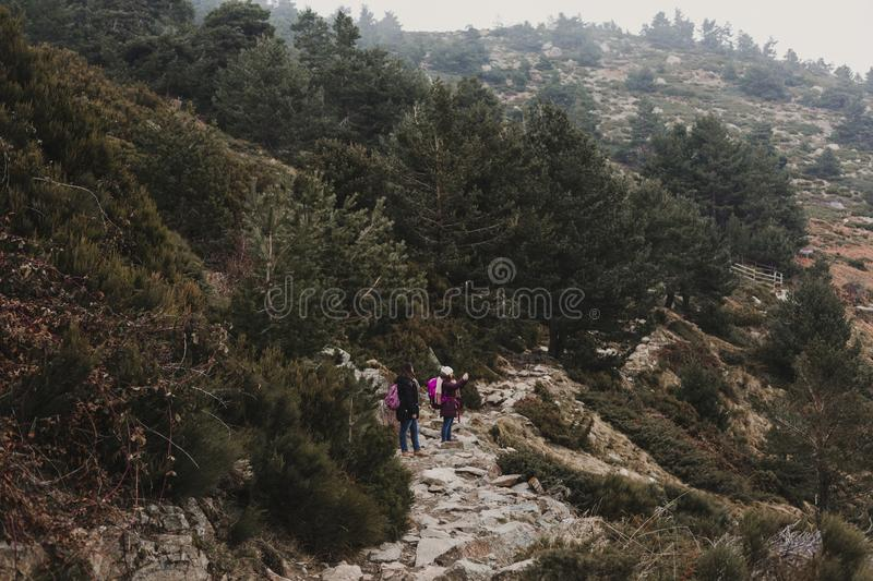 two successful hiker woman friends enjoy the view on mountain peak. Happy backpackers in nature stock images
