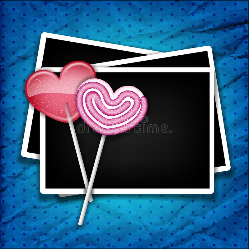 Download Two Sugar Hearts With Photo Frames Stock Vector - Illustration of photo, blue: 27673648