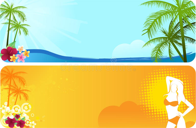 Two summer banners stock illustration