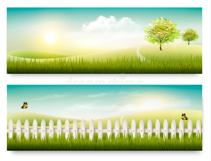 Two summer countryside landscape banners. vector illustration
