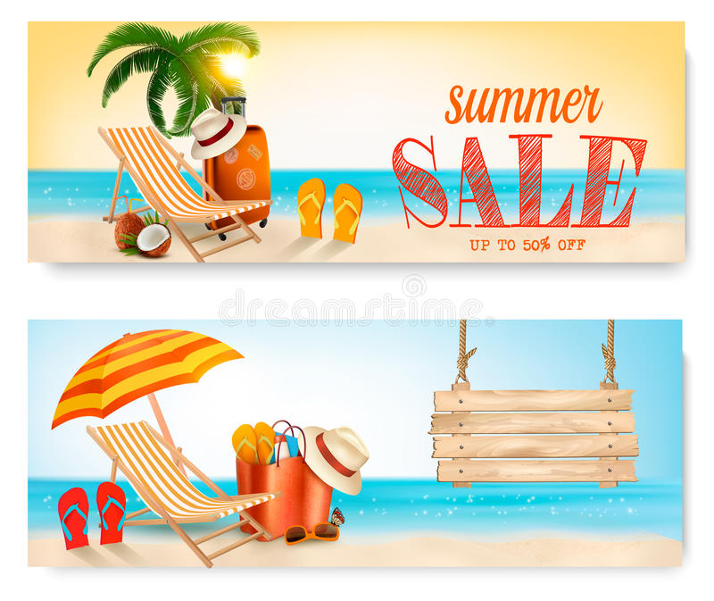 Two Summer Sale Banners With Beach Chair And Ocean. royalty free illustration