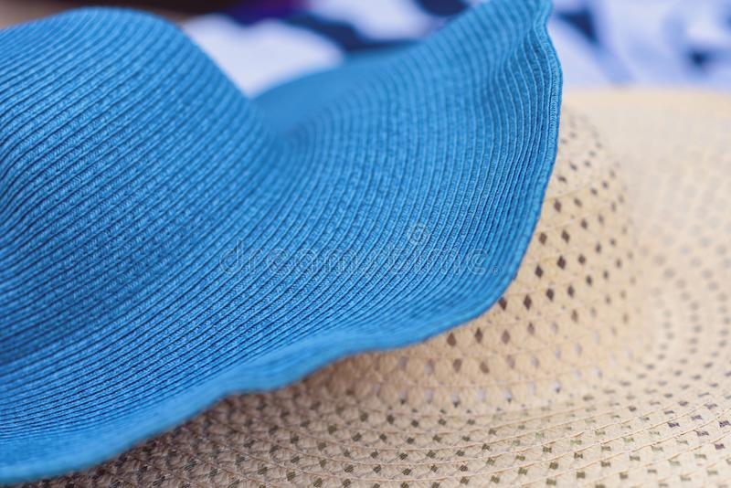 Two summer straw hats on the Alikanas beach, Zakynthos Island, Greece.Summer holiday background concept. stock images