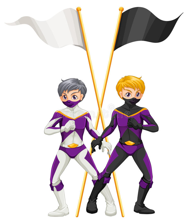 Two superheroes with empty banners. Illustration of the two superheroes with empty banners on a white background royalty free illustration