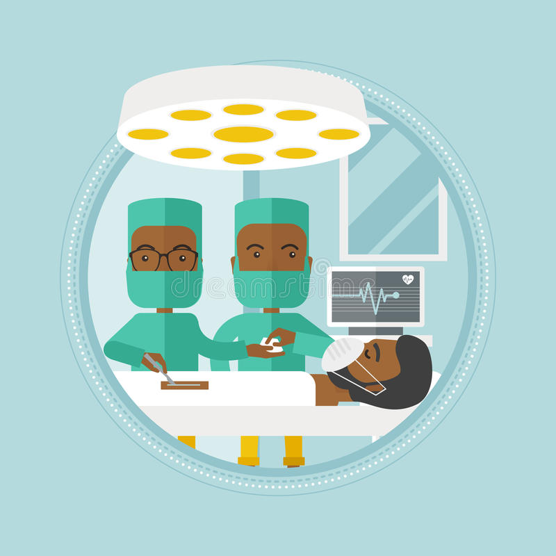 Two surgeons making operation vector illustration. African-american surgeons working in operation theater. Surgeons performing operation in operating room stock illustration