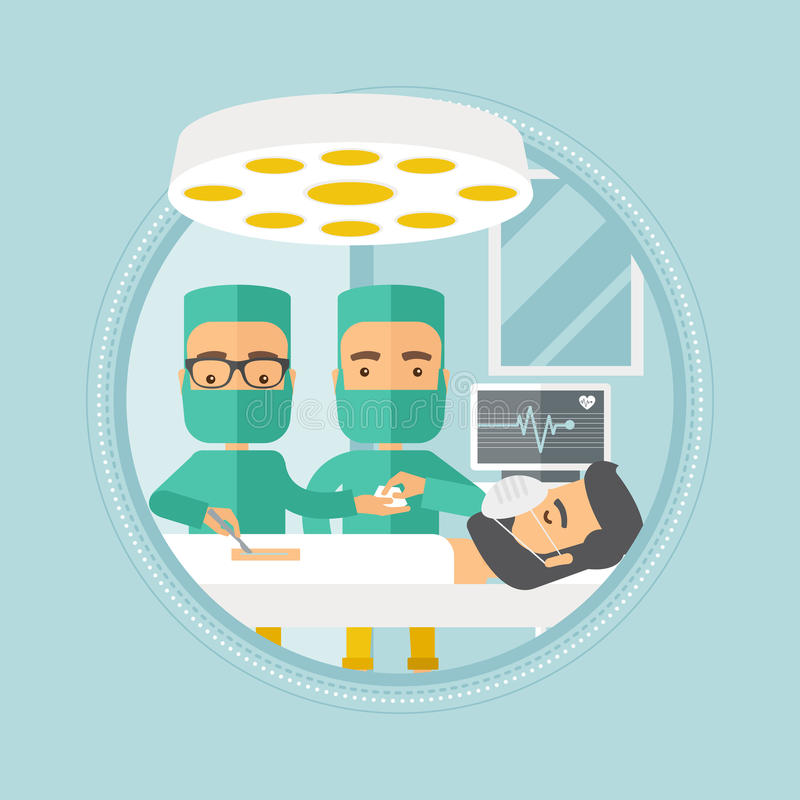 Two surgeons making operation vector illustration. Medical team working in operation theater. Two caucasian surgeons performing operation in operating room stock illustration