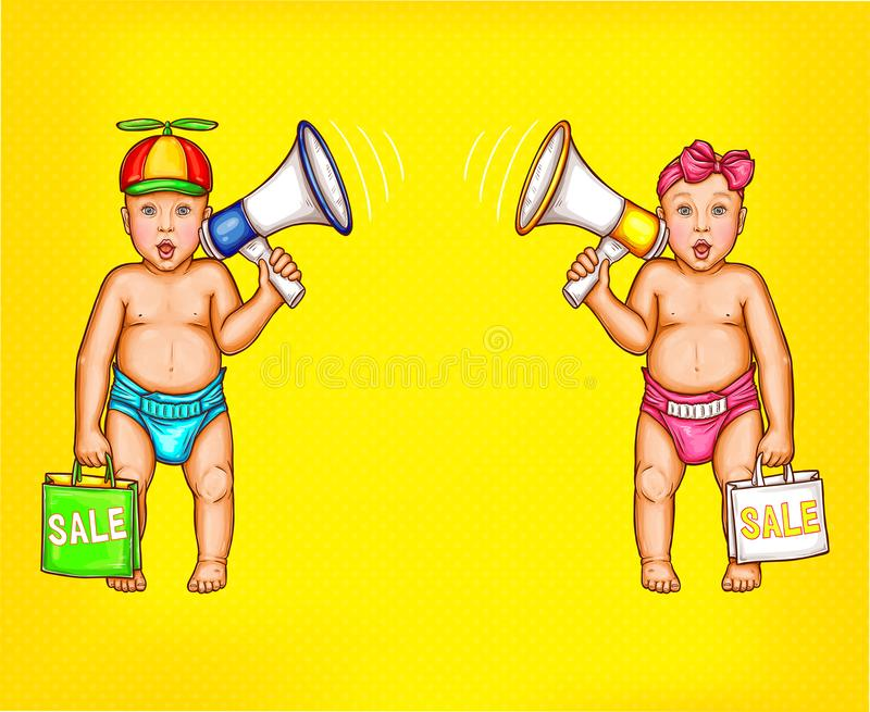 Two surprised baby boy and girl with loudspeakers. Two surprised comic baby boy and girl with loudspeakers and shopping bags in diapers pop art vector on yellow royalty free illustration