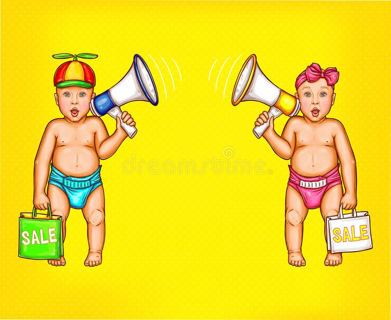 Two surprised baby boy and girl with loudspeakers. Two surprised comic baby boy and girl with loudspeakers and shopping bags in diapers pop art isolated on stock illustration