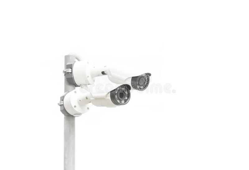 Two surveillance camera isolated on white background. Copy space stock images