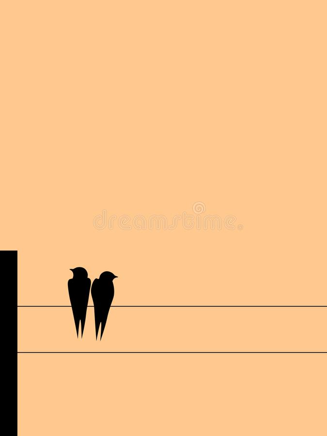 Swallows on wires stock illustration