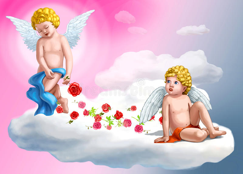 Two sweet angels stock images