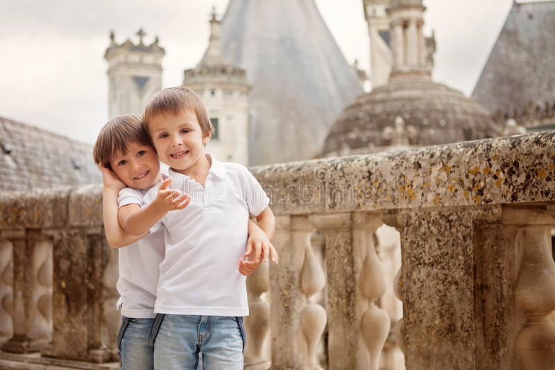 Two sweet boys, brothers having fun while walking around a castle royalty free stock photo