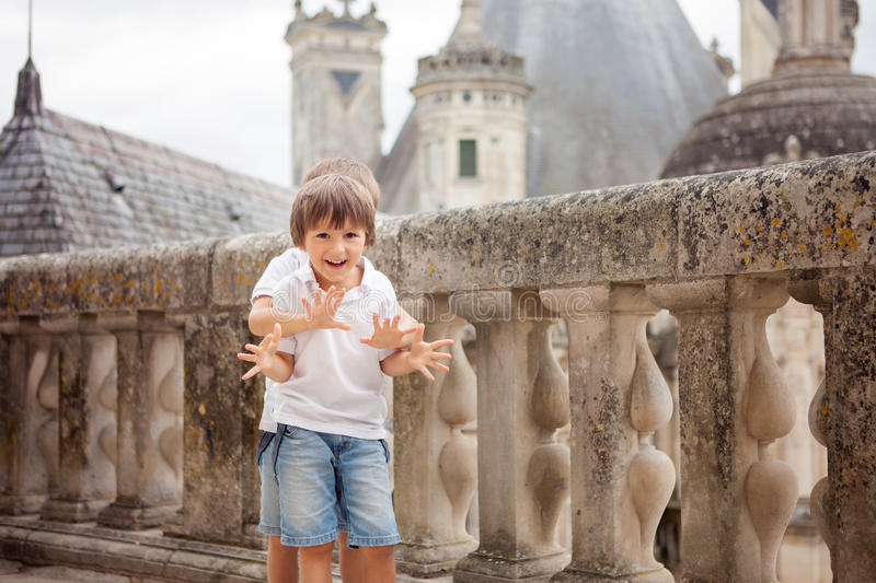 Two sweet boys, brothers having fun while walking around a castle royalty free stock images