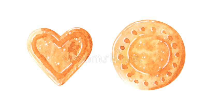 Two sweet cookies, heart-shaped and round, watercolor clip art royalty free illustration