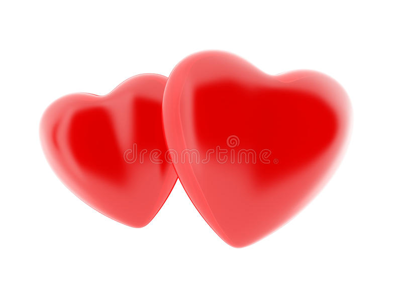 Two sweet 3D hearts royalty free illustration