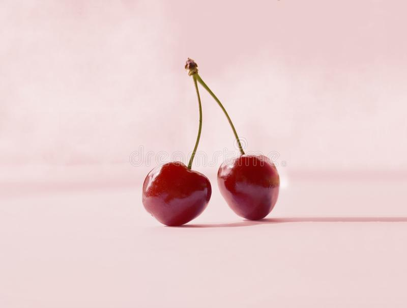 Two sweet juicy cherries on pink royalty free stock photos
