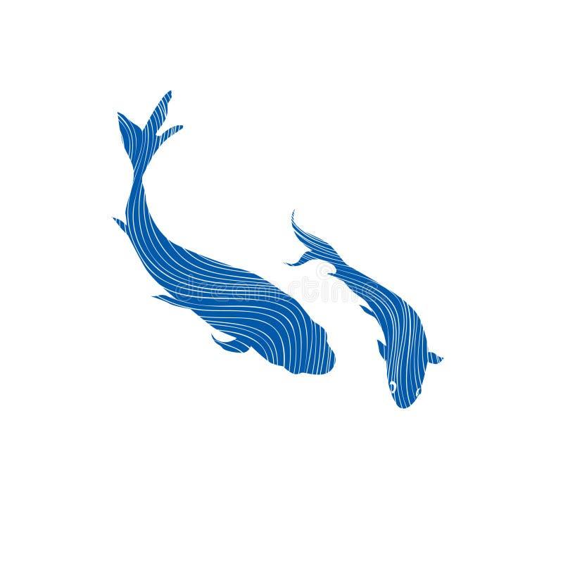 Two swimming fish Underwater marine life background. stock illustration