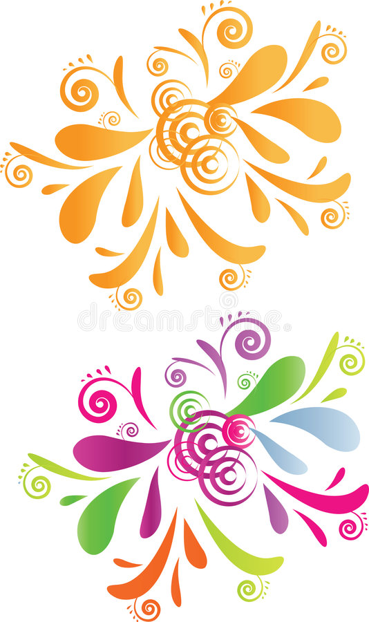 Two Swirl Design - Orange And Colorful Stock Photos