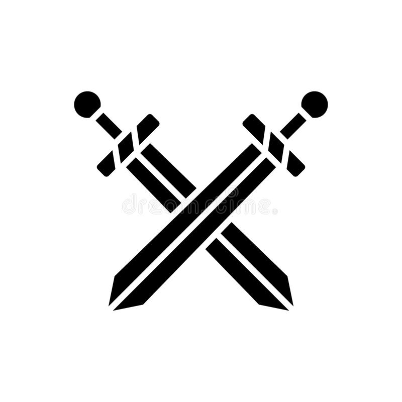 Two swords icon, vector illustration, black sign on isolated background stock illustration