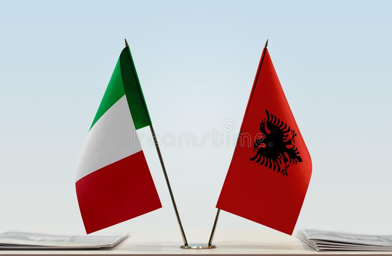 Flags of Italy and Albania. Two table flags of Italy and Albania royalty free stock image