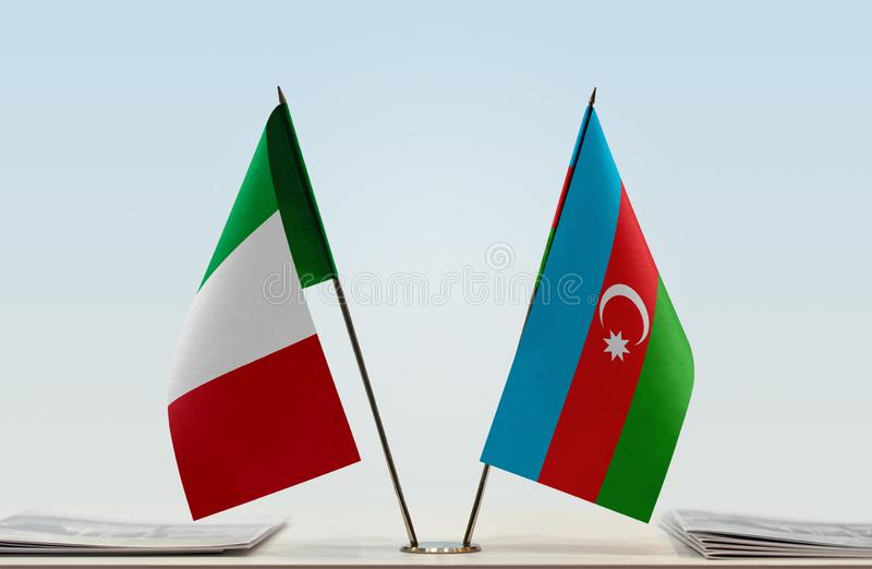 Flags of Italy and Azerbaijan. Two table flags of Italy and Azerbaijan stock image
