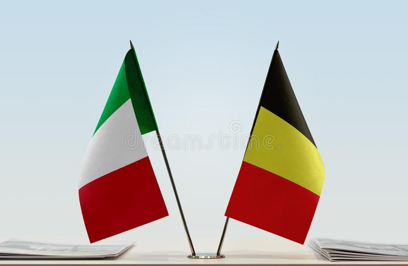 Flags of Italy and Belgium. Two table flags of Italy and Belgium stock photography