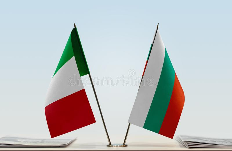 Flags of Italy and Bulgaria. Two table flags of Italy and Bulgaria royalty free stock photo