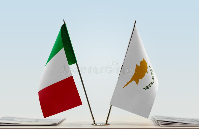 Flags of Italy and Cyprus stock image