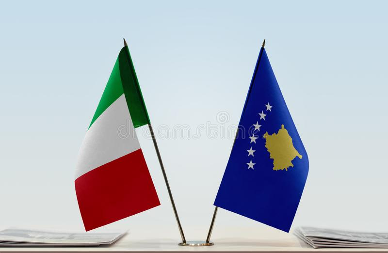 Flags of Italy and Kosovo royalty free stock image