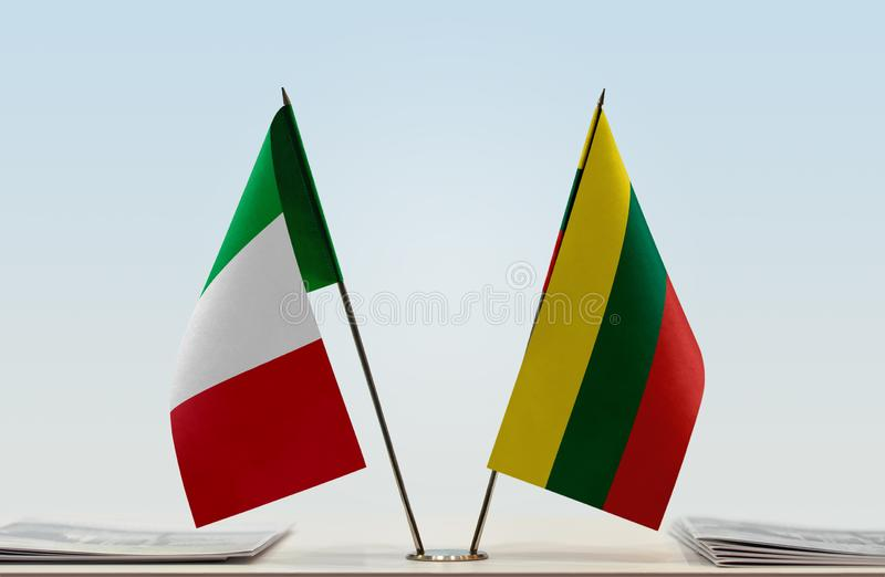 Flags of Italy and Lithuania royalty free stock image