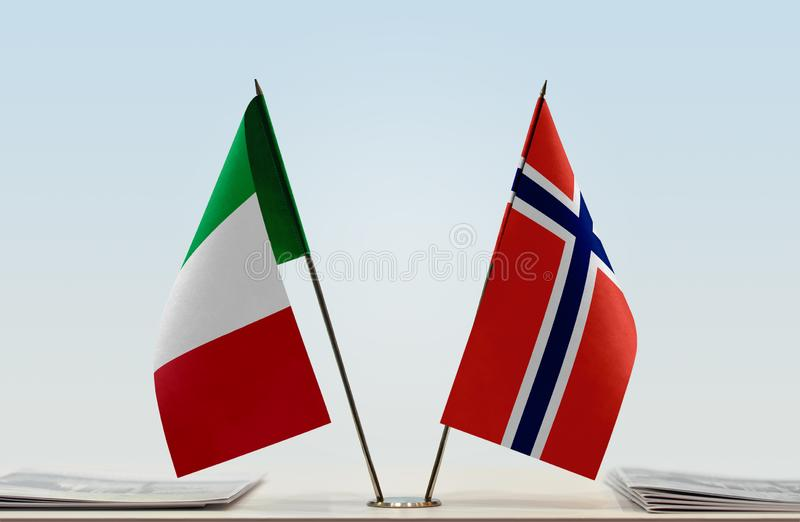 Flags of Italy and Norway royalty free stock photography