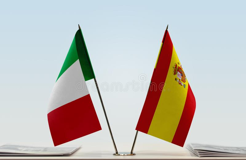 Flags of Italy and Spain stock image