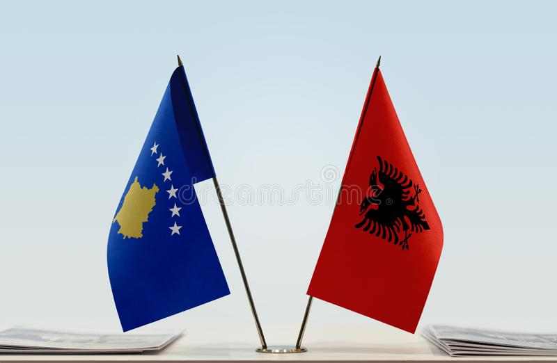 Flags of Kosovo and Albania. Two table flags of Kosovo and Albania royalty free stock photo