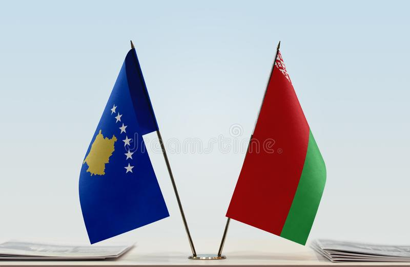Flags of Kosovo and Belarus. Two table flags of Kosovo and Belarus royalty free stock photos