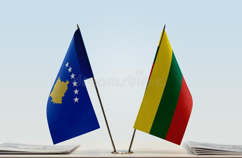 Flags of Kosovo and Lithuania royalty free stock photography