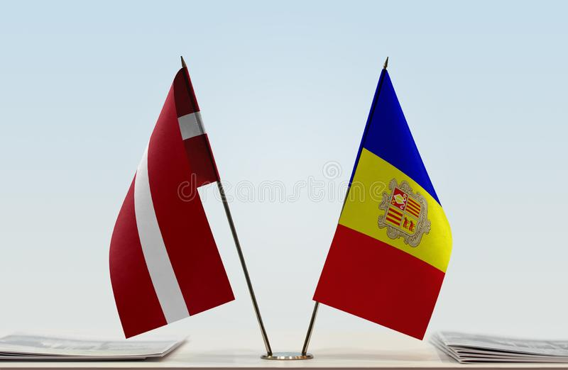 Flags of Latvia and Andorra. Two table flags of Latvia and Andorra royalty free stock images