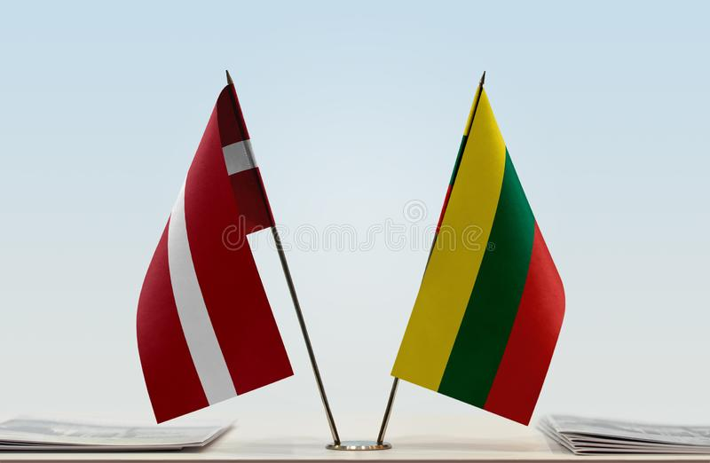 Flags of Latvia and Lithuania royalty free stock photo