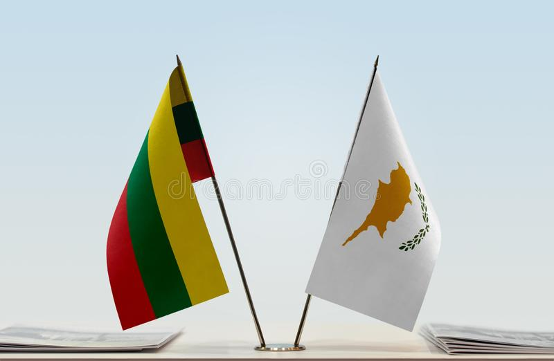Flags of Lithuania and Cyprus. Two table flags of Lithuania and Cyprus stock images