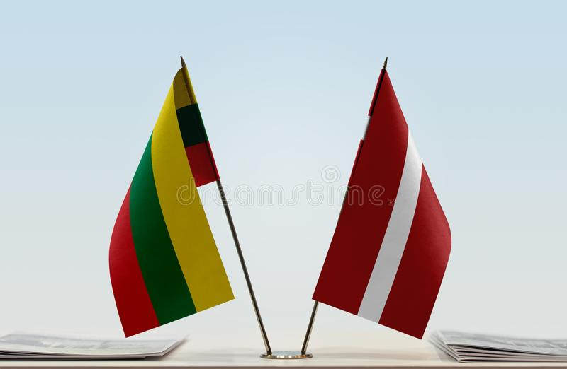 Flags of Lithuania and Latvia. Two table flags of Lithuania and Latvia royalty free stock images