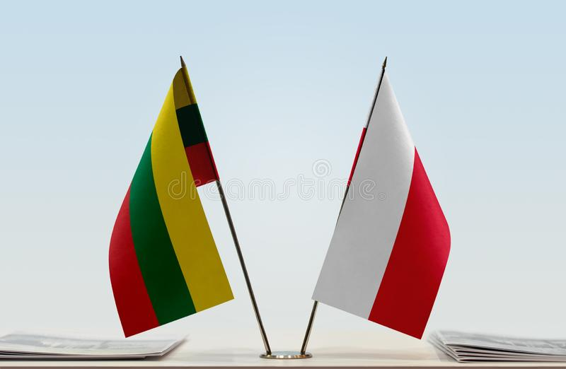 Flags of Lithuania and Poland royalty free stock image