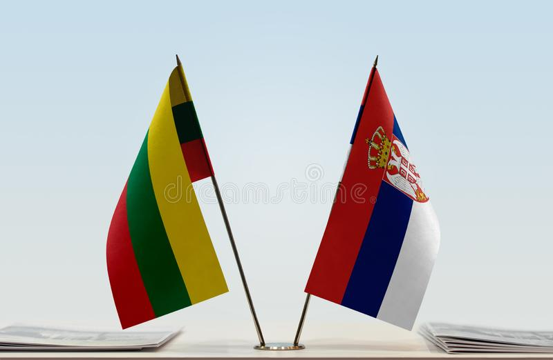 Flags of Lithuania and Serbia stock photos