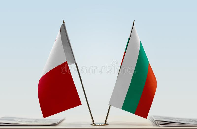 Flags of Malta and Bulgaria. Two table flags of Malta and Bulgaria stock images