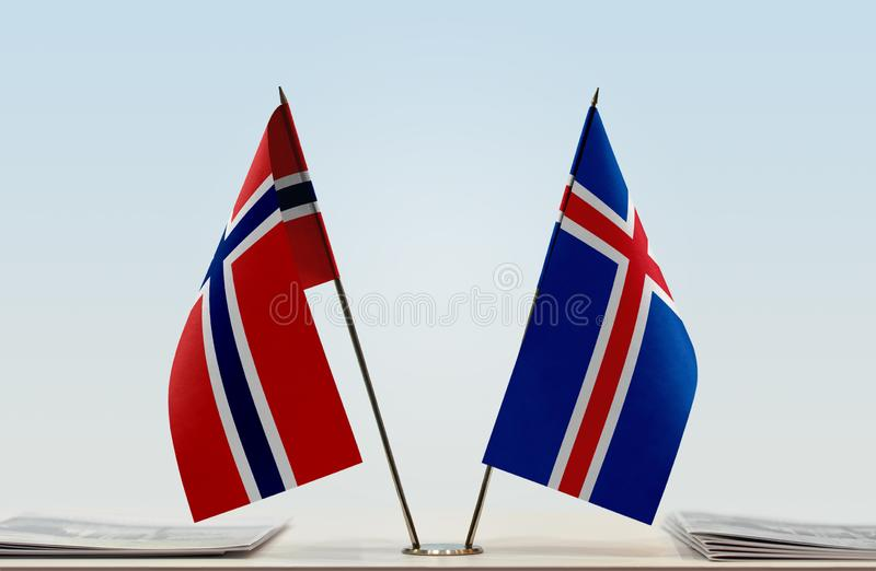 Flags of Norway and Iceland. Two table flags of Norway and Iceland stock images