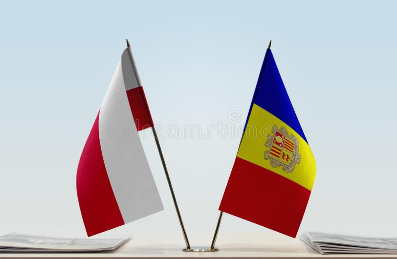 Flags of Poland and Andorra stock photography