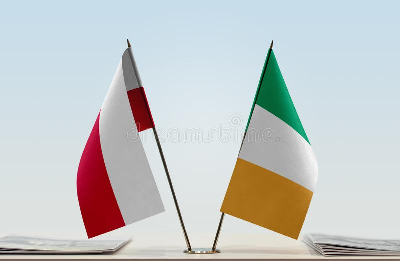 Flags of Poland and Ireland. Two table flags of Poland and Ireland stock images